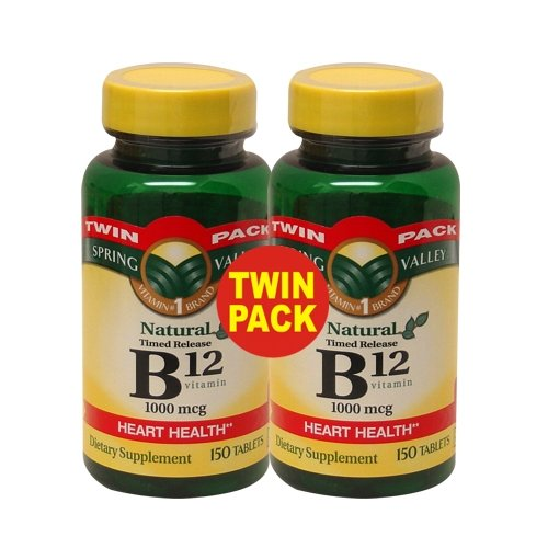 Spring Valley - La vitamine B-12, caplets à libération lente 1000 mcg, 300 comprimés, Twin Pack