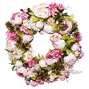 """Red Co. 16"""" Lovely Peony, Artificial Spring & Summer Wreath, Door Backdrop Ornaments, Home Décor Collection 31"""