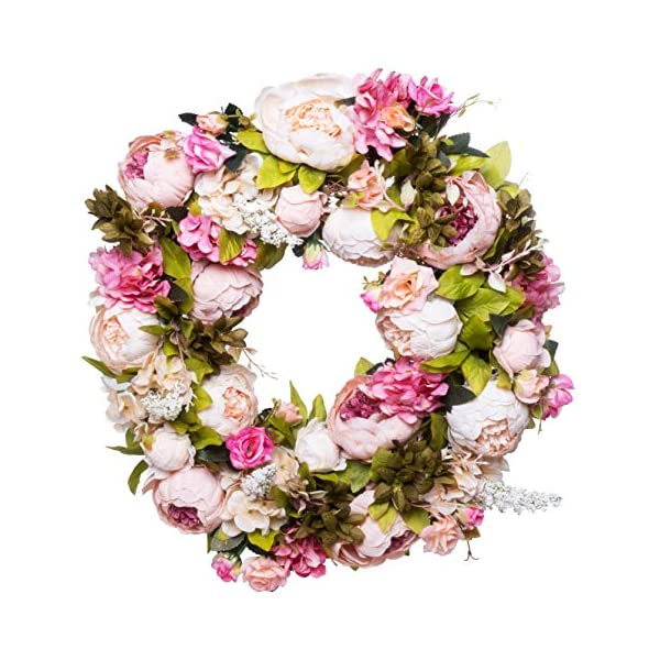 Red Co. 16″ Lovely Peony, Artificial Spring & Summer Wreath, Door Backdrop Ornaments, Home Décor Collection
