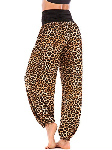 Womens Loose Yoga Pants High Waist Soft Lantern Haren Pants Leopard Printed M (Pants Leopard Lounge)