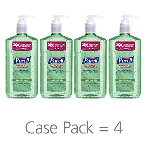 - PURELL Advanced Hand Sanitizer Soothing Gel for the workplace, Fresh scent, with Aloe and Vitamin E - 28 fl oz pump bottle (Pack of 4) - 3181-04-EC