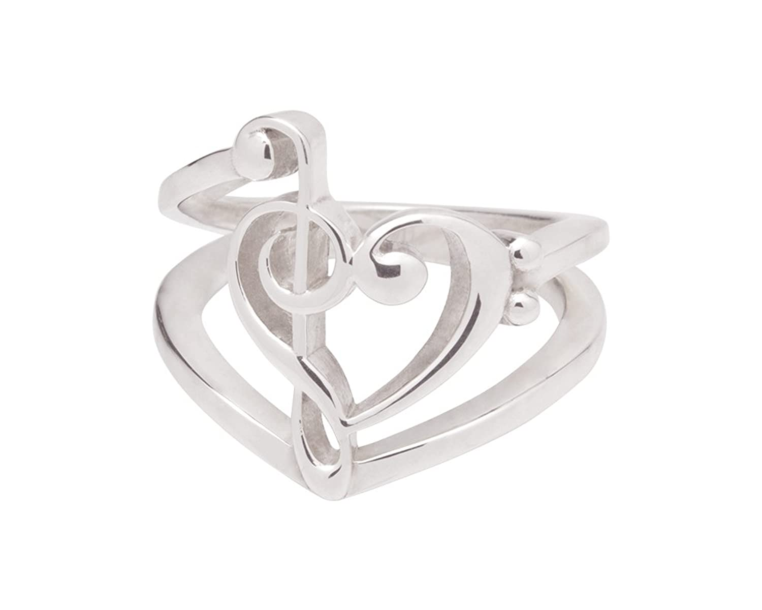 .925 Sterling Silver Treble and Bass Clef Ring