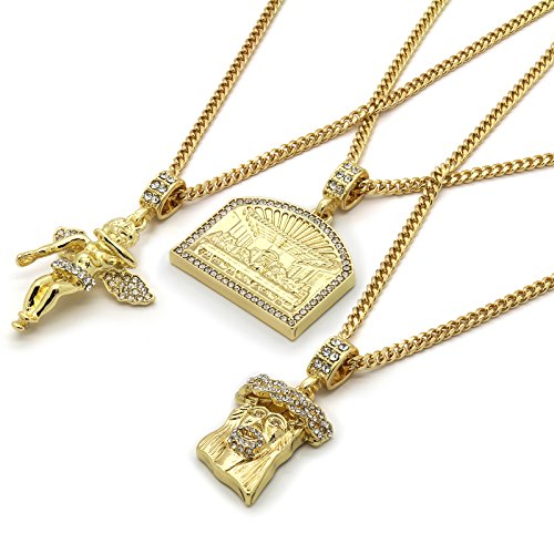 Mens 14k Gold Plated High Fashion Hip Hop Jesus, Angel, Last Supper Pendant 3mm 24