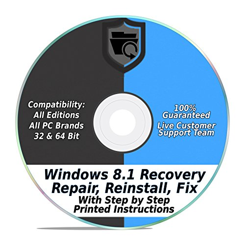(Windows 8.1 64 & 32 bit System Recovery Repair Disk Boot CD | ALL in One HP, Dell, Asus, etc Laptop & Desktop Computer)