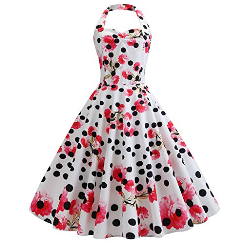 (GOWOM Women's Vintage Polka Halter Dress Floral Sping Retro Rockabilly Cocktail Dress(White,Small))