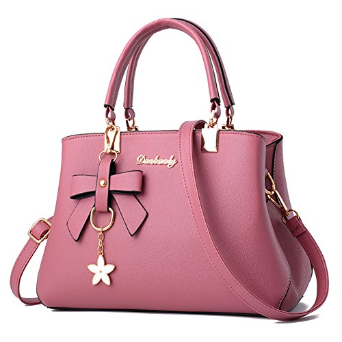 Shoulder Barwell Handle Tote PU Leather Bag Pink Bags Top Handbags Women IISqA6x4