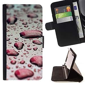 Momo Phone Case / Flip Funda de Cuero Case Cover - Agua Gota Red Bokeh - LG OPTIMUS L90