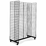 2' x 6' Grid Panel Floorstanding Display Fixture with Gondola Base. Black