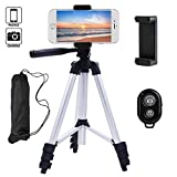 Photo : Linkcool 42 Inch Camera Tripod Stand Holder, Retractable Aluminum Phone Tripod for iPhone, Android Smartphone and Camera with Universal Clip and Bluetooth Remote (Silver)