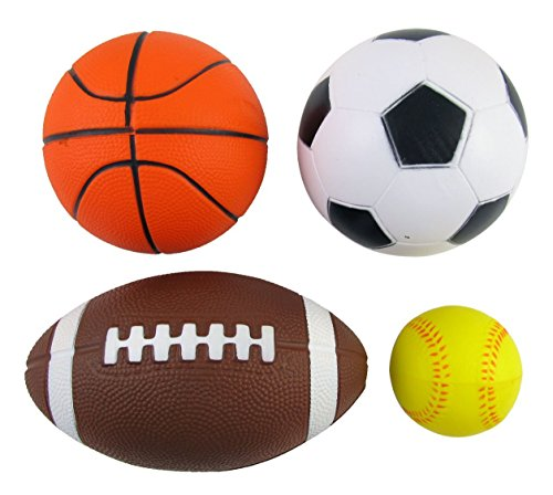 Set of 4 Sports Balls for Kids (Soccer Ball, Basketball, Football, Tennis Ball) By Bo Toys
