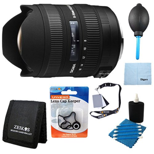 Sigma 8-16mm f/4.5-5.6 DC HSM FLD AF Ultra Wide Zoom Lens for APS-C sized Canon Digital DSLR Camera Includes Bonus Xit Bounce Zoom Slave Flash Enhance Photos, Colors and Saturation, and More