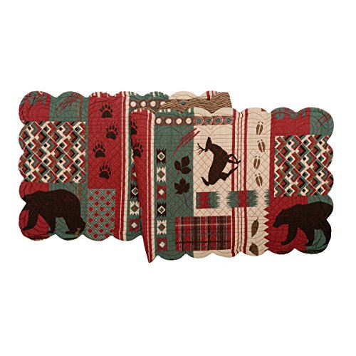 C&F Home Killian Ridge Cotton Quilted Reversible Table Runner 14x51 Table Runner Red ()
