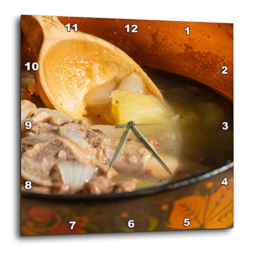 (3dRose Alexis Photography - Food Stew - Wooden Bowl, Wooden Spoon, hot stew. Enjoy Your Meal. Food, Kitchen - 15x15 Wall Clock)