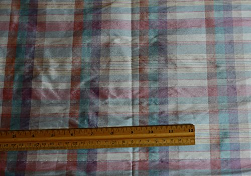 Soft Blue & Pink & Peach Dupioni Plaids, 100% Silk Fabric, By The Yard, 54