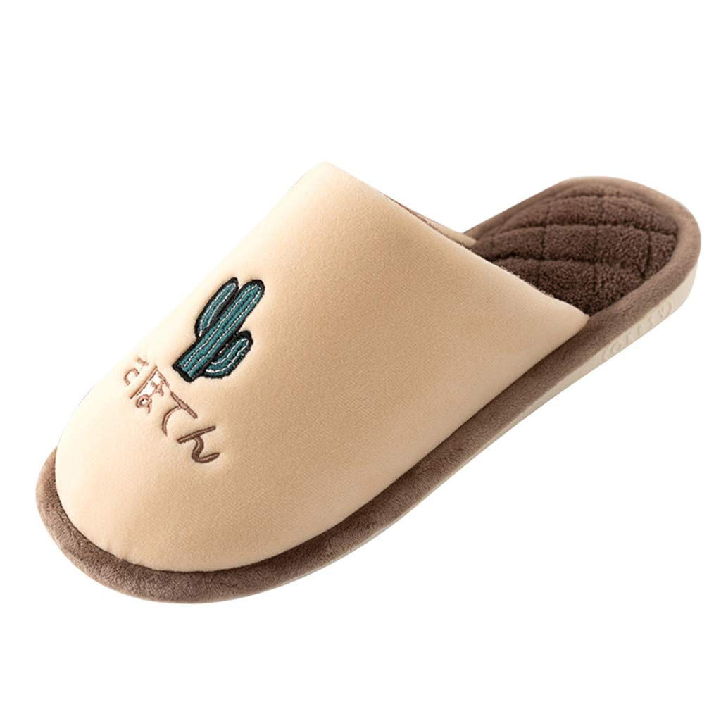 Women Men Winter Home Slippers -【MOHOLL 】 Cotton House Slippers, Washable Flat Indoor/Outdoor Slip on Shoes Coffee