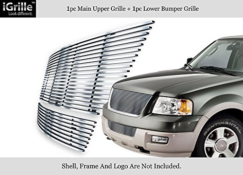 06 Ford Expedition Billet Grille - APS 304 Stainless Steel Billet Grille Combo Fits 03-06 Ford Expedition #N19-C74876F