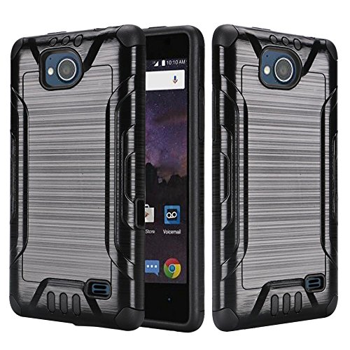 [World Acc] For ZTE Tempo Case / ZTE Majesty Pro LTE Case Slim Dual Layer Brushed Metal Texture High Impact Armor Hybrid TPU Combat Phone Cover (Black/Black)