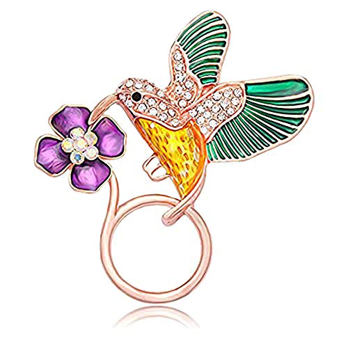 Emerald Glass Brooch - NOUMANDA Jewelry Hummingbird Magnetic Eyeglass Holder Emerald Bird Magnetic Brooch (Rose Gold)