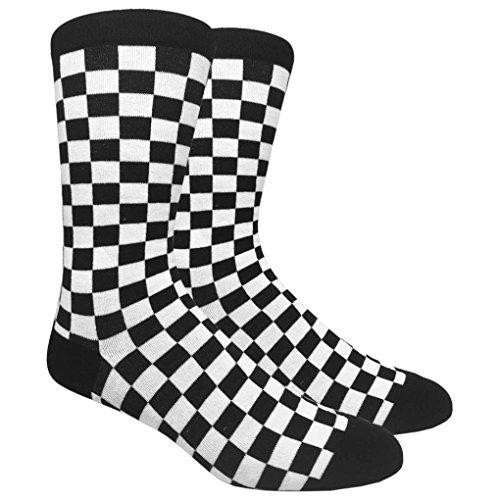 Men's 1 Pack Novelty Crew Socks w. Design (Black Checkered)