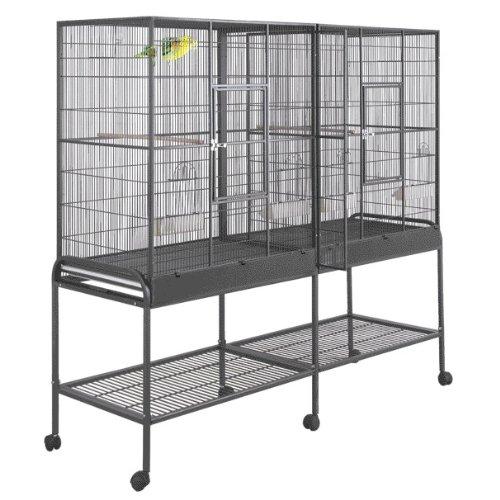 Birdscomfort Hq Double Flight Bird Cage 64×21 – Black, My Pet Supplies