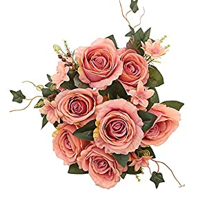 MeHelany Fake Flowers Bouquet Vintage Artificial Rose Silk Flowers Arrangement for Wedding Home Decoration Pack of 1 111