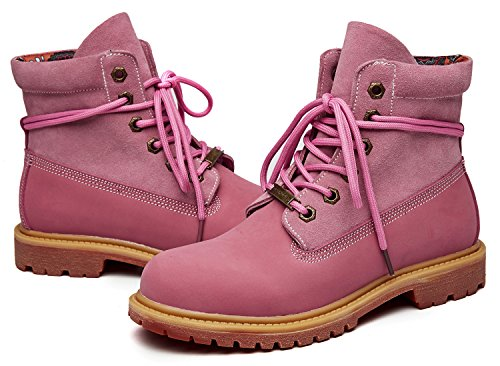 uBeauty - Womens Combat Boots - Womens Leather Boots - Classic Ankle Boots - Big Size Boots - Ladies Lace Up Shoes Pink bVyrQV0