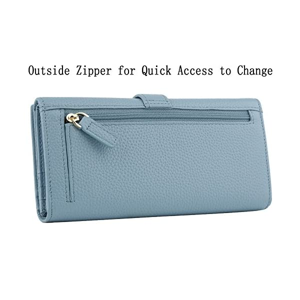 Dante Women RFID Blocking Real Leather Trifold Wallet - Clutch Checkbook Wallet for Women - Shield Against Identity Theft(Light Blue)