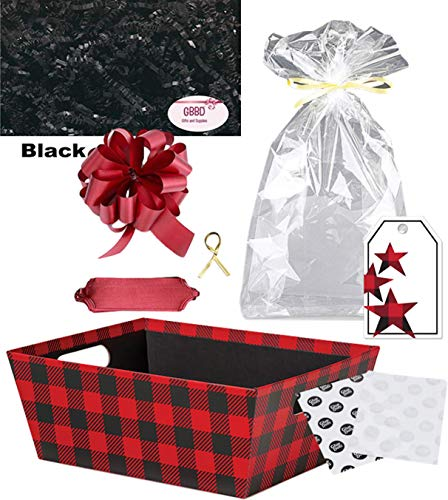Gift Basket Making Supply Kit for Do it Yourself Wrapping (Buffalo Plaid, Large)