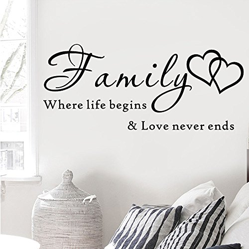 Weiliru Family Wall Decal Family Words Quote Vinyl Family Wall Decal Family Room Art Decoration for Living Room