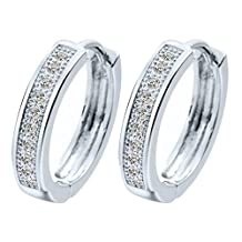 Big Round Earing 18K Gold Plated Hoop Huggie Earrings For Women White Stone Cubic Zirconia Wedding Jewelry A2128