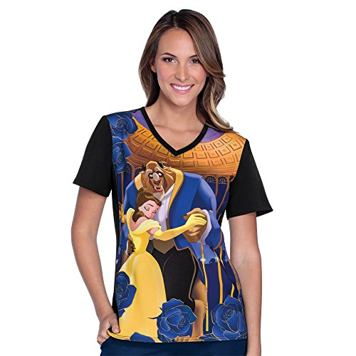 2508dfe4e3a Cherokee Tooniforms By Women's V-Neck Knit Panel Beauty And The Beast Print  Scrub Top X-Small Print