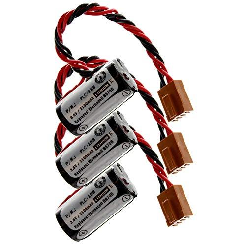 Three PLC Lithium 3.6V 2100mAh Computer Backup Batteries, Replacements For Omron 3G2A9-BAT08, C1000HF SERIES, C120F SERIES, C20 SERIES, C2000H SERIES, C20PF SERIES, C28PF SERIES, C40PF SERIES -