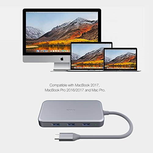 iHaper USB C Hub, USB Type C Hub with USB-C 3.1 (Power Dellvery) for Charging, Gigabit Ethernet Port, 4K HDMI Port, 3 USB 3.0 Ports for MacBook,MacBook Pro 2016/2017,Dell XPS 13 and more, Space Gray by iHaper (Image #4)