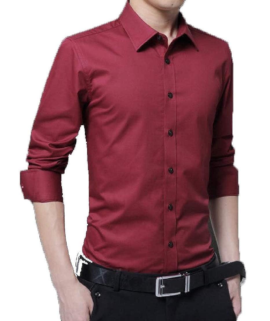 Generic Mens Slim-Fit Long-Sleeve Solid Buton Up Dress Shirt