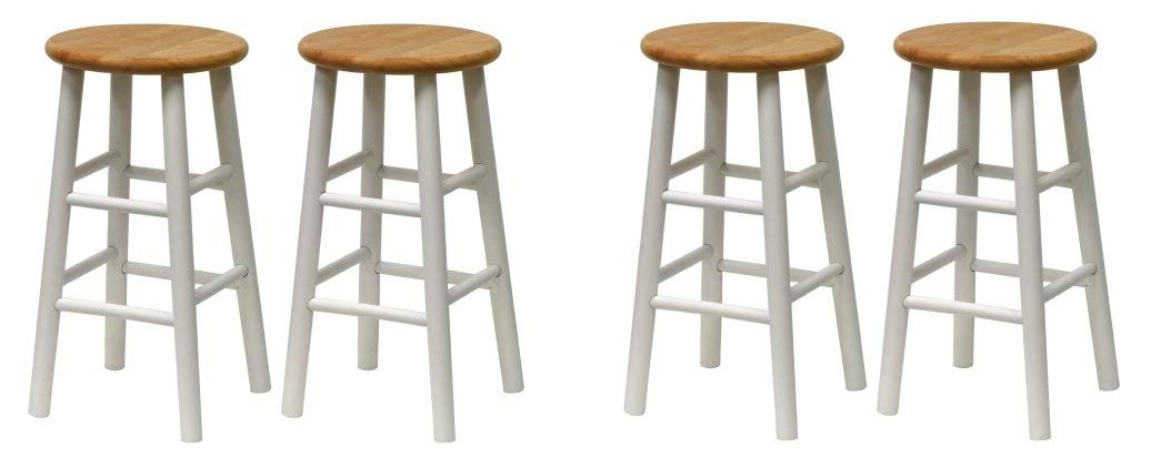 Natural Breakfast Bar With Two Stools Part - 20: Amazon.com: Winsome 53784 Tabby Stool, White (3 X Pack of 2): Kitchen u0026  Dining