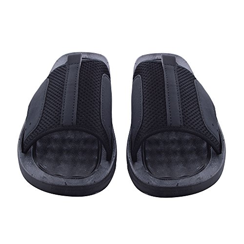 Mens Rugged Casual Sandal (Skysole Mens Rugged Slide Sandals with Mesh Upper in Black/Gray, Size 10)
