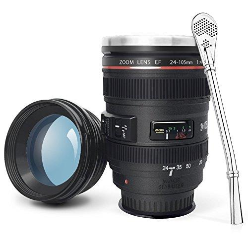 LanChuon Taza de la lente de la camara con ventosa, taza en forma de objetivo EF24-105mm, estable pero facil de recoger, el interno es de acero inoxidable y regalo para un amante de la fotografia