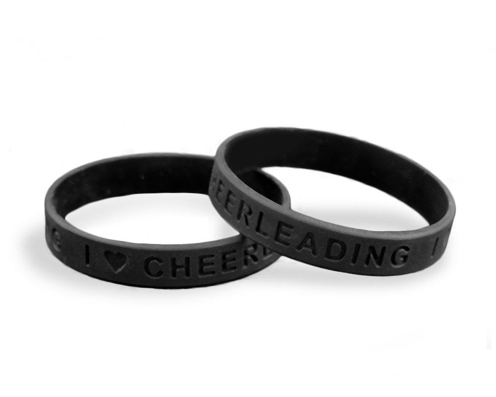 I Love Cheerleading Silicone Bracelets - Black (Wholesale Pack - 25 Bracelets)