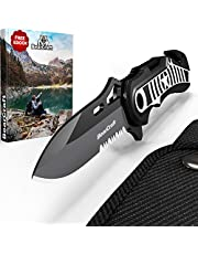 BearCraft Klappmesser in exklusivem Design mit **GRATIS eBook** | Outdoor Survival Messer mit Wellenschliff | Taschenmesser mit Gurtschneider und Glasbrecher