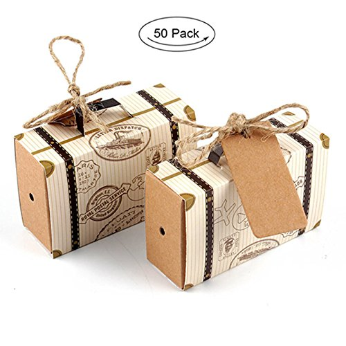 "AerWo 50pcs ""Travel Themed"" Suitcase Favor Boxes + 50pcs Tags, Vintage Kraft Favor Box Candy Gift bag for Travel Theme Party Wedding Birthday Bridal Shower (Wedding Favors Garden Theme)"