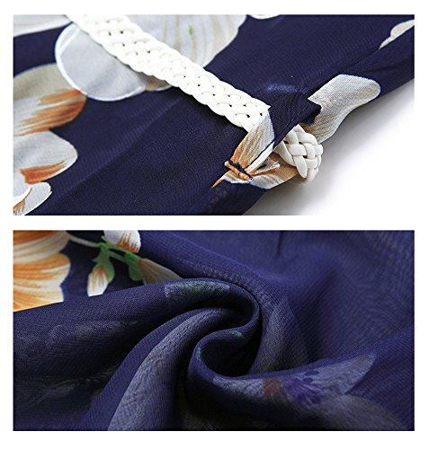 Long Sleeveless Belt Print Floral Lake Chiffon Strip Blue Blue Lake antaina Beach Dress wtqgIRY8q