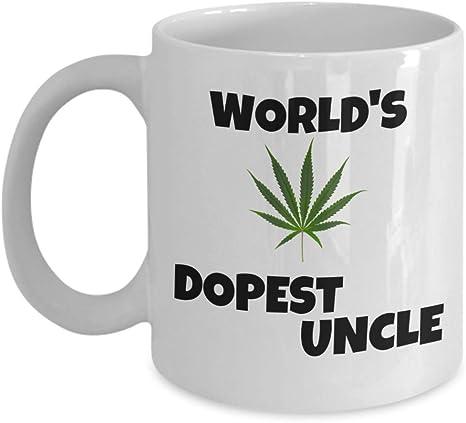 Amazon Com Weed Coffee Mug World S Dopest Uncle Funny Father S Day Cannabis Smoker Marijuana Leaf Gift Cool Uncle Stoner Gift Wake And Bake 420 Gifts Ganja Rastafarian Pot