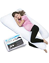 PharMeDoc Total Body Pillow w/ Extra Cover (2 Covers Total) - U-Shaped Comfortable Maternity / Pregnancy Snug Cushion With Zipper - Full Contoured Body Support System, Side Sleeper Pillow BOBEBE Online Baby Store From New York to Miami and Los Angeles