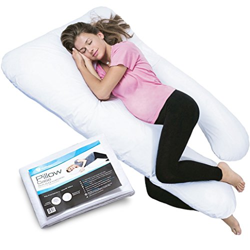 PharMeDoc-Total-Body-Pillow-w-Extra-Cover-2-Covers-Total-U-Shaped-Comfortable-Maternity-Pregnancy-Snug-Cushion-With-Zipper-Full-Contoured-Body-Support-System-Side-Sleeper-Pillow