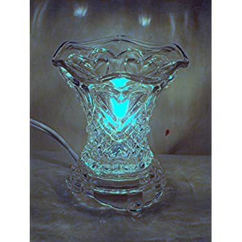New Electric Heart Design Ornate Clear Glass Fragrance Oil Burner Scent Wax Tart Warmer Lamp Night Light with Dimmer Switch