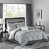 Madison Park MP10-1665 Lavine 12Piece Jacquard Comforter Set Queen , Blue , Queen,Blue,Queen