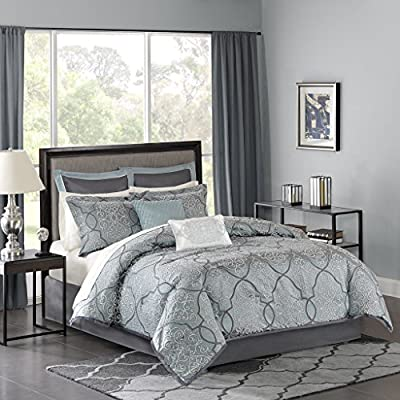 Madison Park LaVine 12 Piece Jacquard Comforter Set, Blue, King - Set includes: 1 comforter, 2 King shams, 1 bed skirt , 2 decorative pillows, 2 euro shams, 1 flat sheet, 1 fitted sheet, 2 pillowcases Cover: 100Percent polyester filling: 100Percent polyester Machine washable - comforter-sets, bedroom-sheets-comforters, bedroom - 51KCq1tuMQL. SS400  -