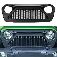 SUNPIE Jeep Wrangler JL Grill Mesh Grille Replacement 2018 2019 Rubicon Sahara Sport (Paintable, Matte Black, ABS)