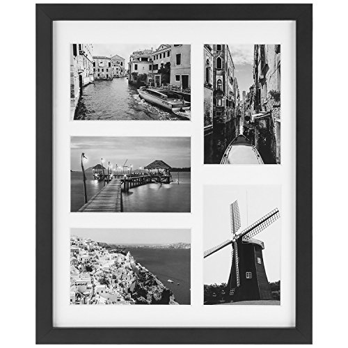 ONE WALL Tempered Glass 11x14 Inch Collage Picture Frame for 4x6 Inch Photos with 5-Opening - Wall Mounting Hardware ()