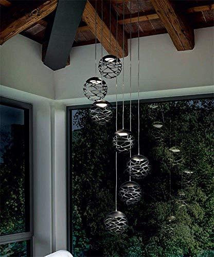 BOSSLV Led Pendant Lamp Metal Pendent Lamp for Stair Dinning Parlor Hanging Lighting, 1 Head Black, Cool White ()